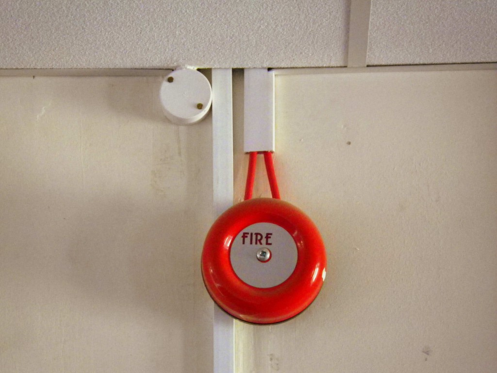 Fire bell at Roebuck House - let's hope we never need it